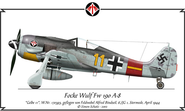 Focke Wulf Fw 190 A-8, flown by Alfred Bindseil